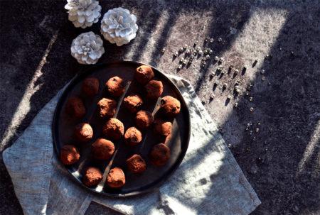 Truffes au chocolat et praliné