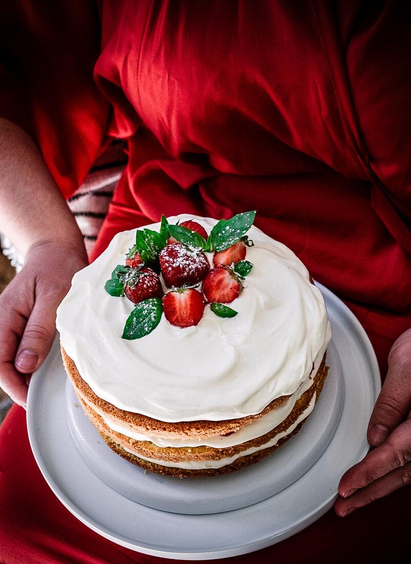 Layer cake chantilly fraises